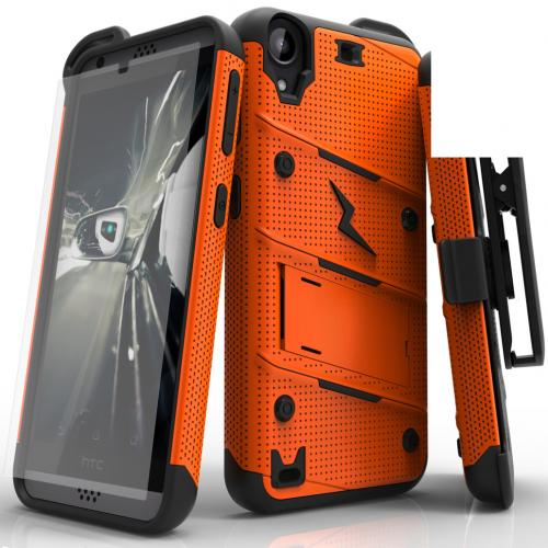 Made for [HTC Desire 530]-Bolt Series: Heavy Duty Cover w/ Kickstand Holster Tempered Glass Screen Protector & Lanyard [Orange/ Black]