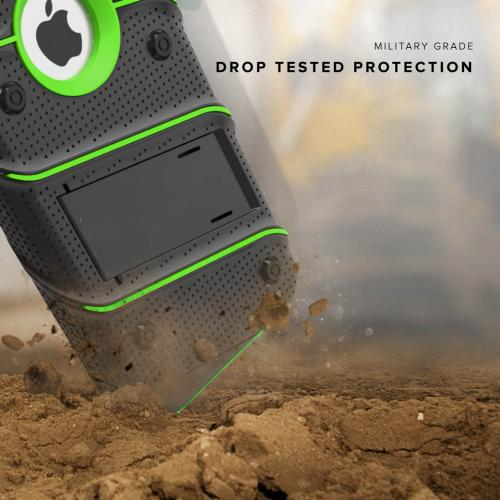 Made for [Apple iPhone 6S/6 (4.7 inch)]-Bolt Series: Heavy Duty Cover w/ Kickstand Holster Tempered Glass Screen Protector & Lanyard [Black/ Neon Green]
