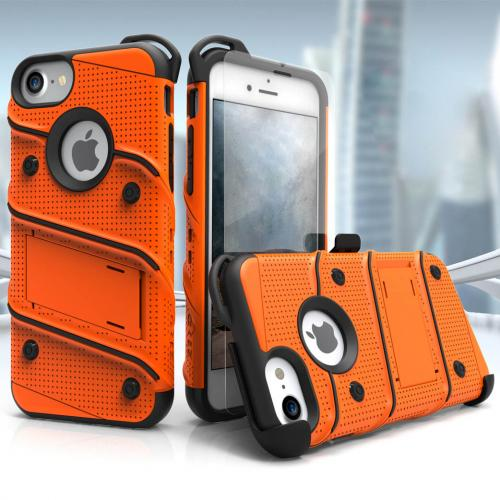 Made for [Apple iPhone 6S/6 (4.7 inch)]-Bolt Series: Heavy Duty Cover w/ Kickstand Holster Tempered Glass Screen Protector & Lanyard [Orange]