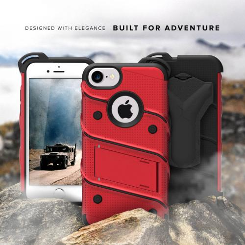 Made for [Apple iPhone 6S/6 (4.7 inch)]-Bolt Series: Heavy Duty Cover w/ Kickstand Holster Tempered Glass Screen Protector & Lanyard [Red/ Black]