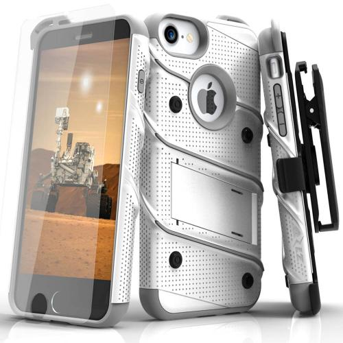 Made for [Apple iPhone 6/6S (4.7 inch)]-Bolt Series: Heavy Duty Cover w/ Kickstand Holster Tempered Glass Screen Protector & Lanyard [White/Gray]