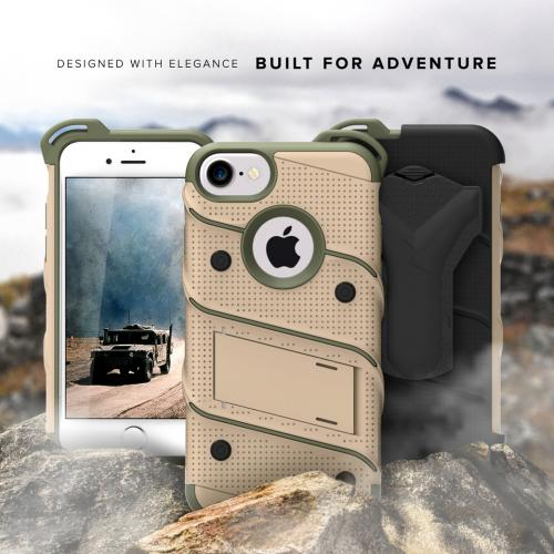 Made for [Apple iPhone 7 (4.7 inch)]-Bolt Series: Heavy Duty Cover w/ Kickstand Holster Tempered Glass Screen Protector & Lanyard [Desert Tan/ Camo Green]