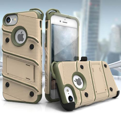 Apple iPhone 8/7/6S/6 Case - [BOLT] Heavy Duty Cover w/ Kickstand, Holster, Tempered Glass Screen Protector & Lanyard [Desert Tan/ Camo Green]