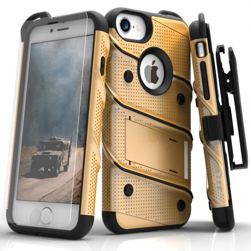 Made for [Apple iPhone 7 (4.7 inch)]-Bolt Series: Heavy Duty Cover w/ Kickstand Holster Tempered Glass Screen Protector & Lanyard [Gold/ Black]