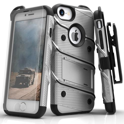 Made for [Apple iPhone 7 (4.7 inch)]-Bolt Series: Heavy Duty Cover w/ Kickstand Holster Tempered Glass Screen Protector & Lanyard [Gray/ Black]