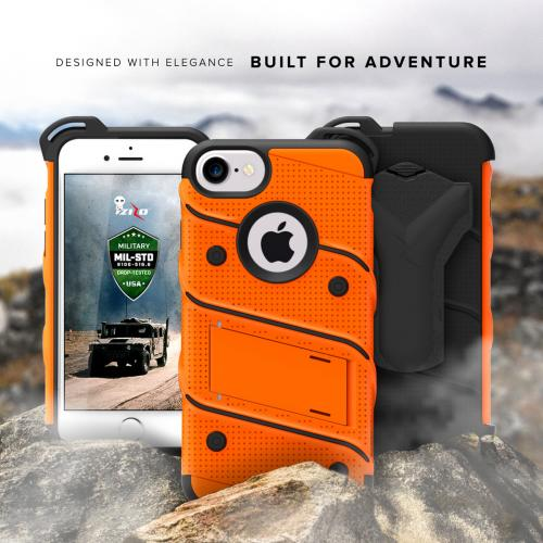 Made for [Apple iPhone 7 (4.7 inch)]-Bolt Series: Heavy Duty Cover w/ Kickstand Holster Tempered Glass Screen Protector & Lanyard [Orange/ Black]