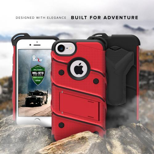 Made for [Apple iPhone 7 (4.7 inch)]-Bolt Series: Heavy Duty Cover w/ Kickstand Holster Tempered Glass Screen Protector & Lanyard [Red/ Black]