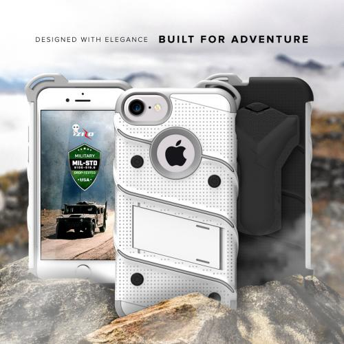 Made for [Apple iPhone 7 (4.7 inch)]-Bolt Series: Heavy Duty Cover w/ Kickstand Holster Tempered Glass Screen Protector & Lanyard [White/ Gray]