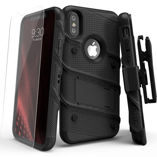 Made for [Apple iPhone X]-Bolt Series: Heavy Duty Cover w/ Kickstand Holster Tempered Glass Screen Protector & Lanyard [Black]