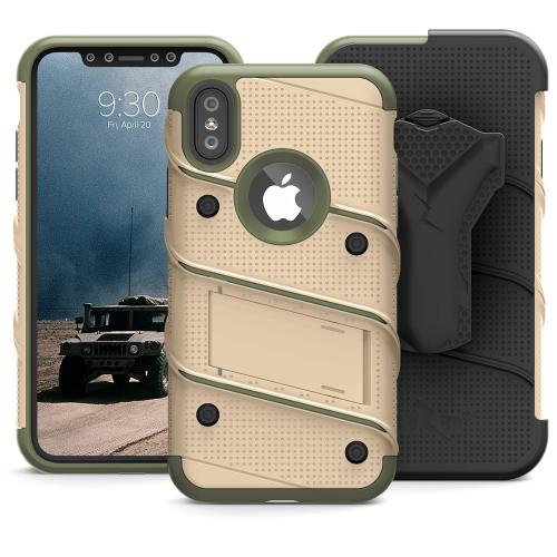 Made for [Apple iPhone X / XS 2018]-Bolt Series: Heavy Duty Cover w/ Kickstand Holster Tempered Glass Screen Protector & Lanyard [Desert Tan/ Camo Green]