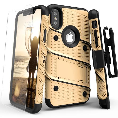 Made for [Apple iPhone X / XS 2018]-Bolt Series: Heavy Duty Cover w/ Kickstand Holster Tempered Glass Screen Protector & Lanyard [Gold/ Black]