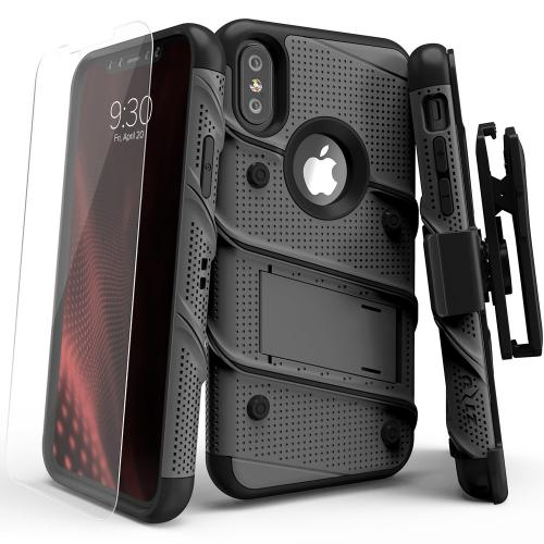 Made for [Apple iPhone X / XS 2018]-Bolt Series: Heavy Duty Cover w/ Kickstand Holster Tempered Glass Screen Protector & Lanyard [Gunmetal Gray/ Black]