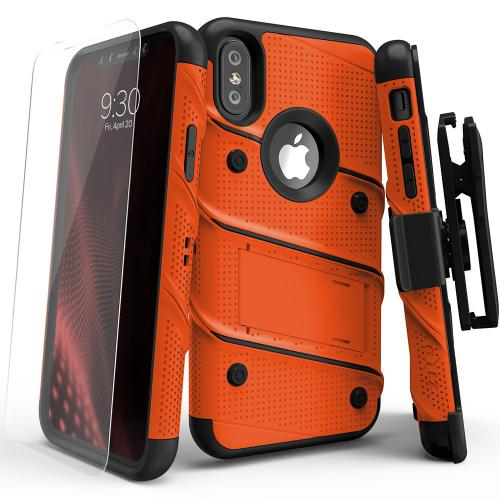 Made for [Apple iPhone X]-Bolt Series: Heavy Duty Cover w/ Kickstand Holster Tempered Glass Screen Protector & Lanyard [Orange/ Black]