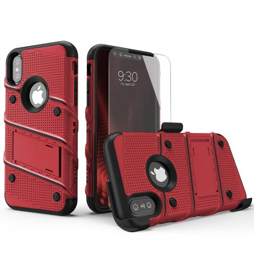 Made for [Apple iPhone X / XS 2018]-Bolt Series: Heavy Duty Cover w/ Kickstand Holster Tempered Glass Screen Protector & Lanyard [Red/ Black]