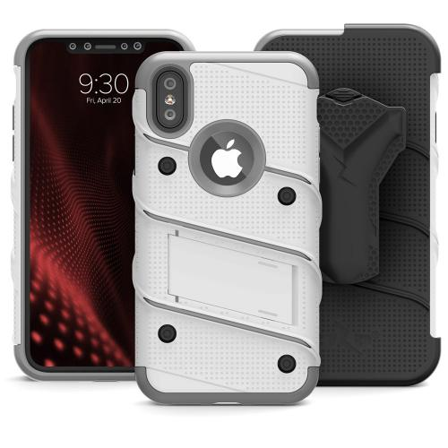 Made for [Apple iPhone X]-Bolt Series: Heavy Duty Cover w/ Kickstand Holster Tempered Glass Screen Protector & Lanyard [White/ Gray]