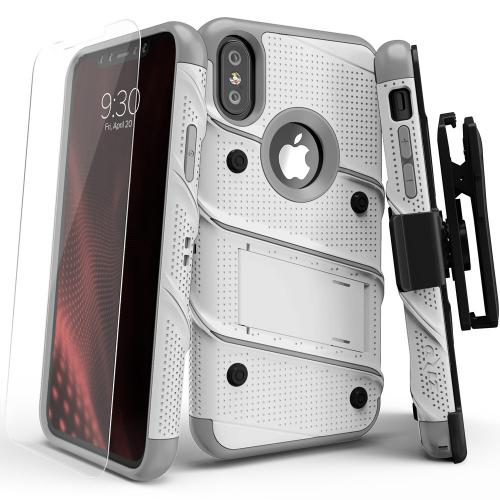 Made for [Apple iPhone X / XS 2018]-Bolt Series: Heavy Duty Cover w/ Kickstand Holster Tempered Glass Screen Protector & Lanyard [White/ Gray]