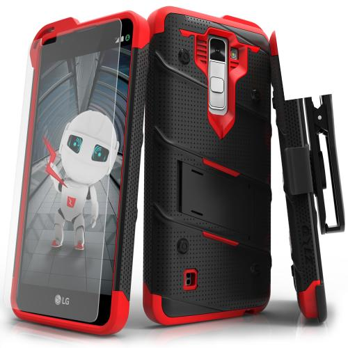 Made for [LG K10]-Bolt Series: Heavy Duty Cover w/ Kickstand Holster Tempered Glass Screen Protector & Lanyard [Black/ Red]