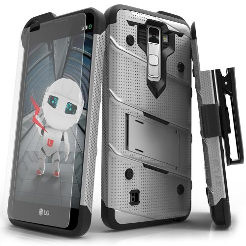 Made for [LG K10]-Bolt Series: Heavy Duty Cover w/ Kickstand Holster Tempered Glass Screen Protector & Lanyard [Gray/ Black]