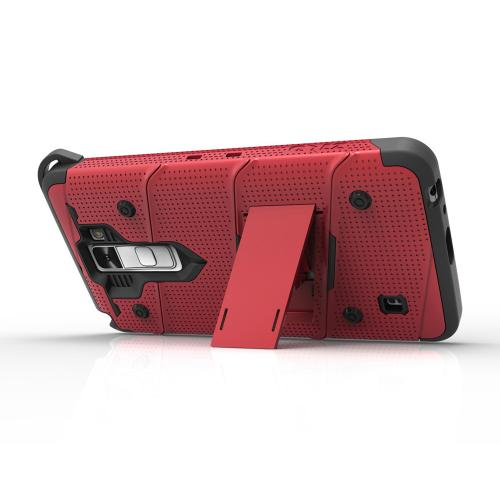 Made for [LG K10]-Bolt Series: Heavy Duty Cover w/ Kickstand Holster Tempered Glass Screen Protector & Lanyard [Red/ Black]