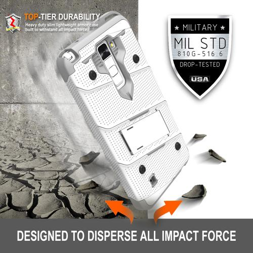 Made for [LG K10]-Bolt Series: Heavy Duty Cover w/ Kickstand Holster Tempered Glass Screen Protector & Lanyard [White/ Gray]