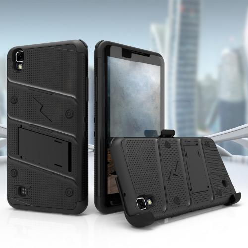 Made for [LG X Power]-Bolt Series: Heavy Duty Cover w/ Kickstand Holster Tempered Glass Screen Protector & Lanyard [Black]