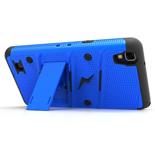 Made for [LG X Power]-Bolt Series: Heavy Duty Cover w/ Kickstand Holster Tempered Glass Screen Protector & Lanyard [Blue/ Black]