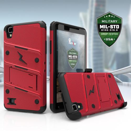 Made for [LG X Power]-Bolt Series: Heavy Duty Cover w/ Kickstand Holster Tempered Glass Screen Protector & Lanyard [Red/ Black]