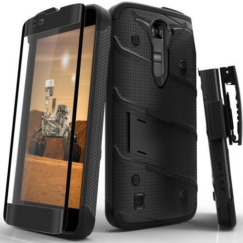 Made for [LG K7/ LG Tribute 5]-Bolt Series: Heavy Duty Cover w/ Kickstand Holster Tempered Glass Screen Protector & Lanyard [Black]