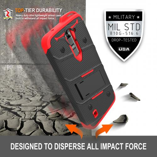 LG K7/ LG Tribute 5 Case - [BOLT] Heavy Duty Cover w/ Kickstand, Holster, Tempered Glass Screen Protector & Lanyard [Black/ Red]