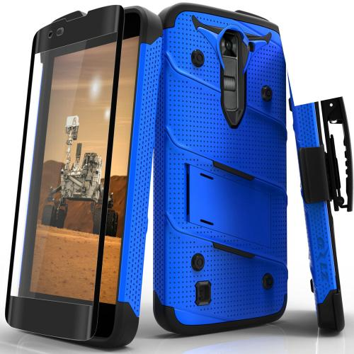 Made for [LG K7/ LG Tribute 5]-Bolt Series: Heavy Duty Cover w/ Kickstand Holster Tempered Glass Screen Protector & Lanyard [Blue/ Black]