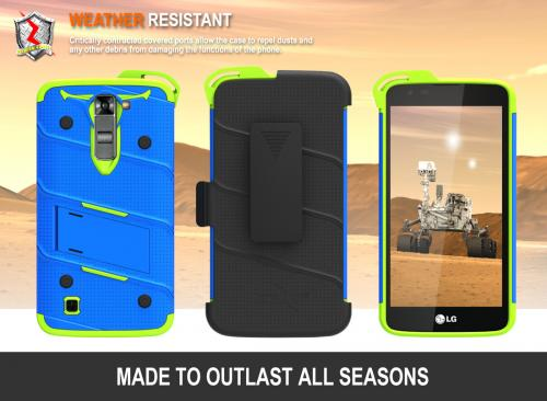 Made for [LG K7/ LG Tribute 5]-Bolt Series: Heavy Duty Cover w/ Kickstand Holster Tempered Glass Screen Protector & Lanyard [Blue/ Neon Green]