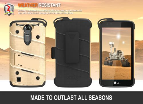 Made for [LG K7/ LG Tribute 5]-Bolt Series: Heavy Duty Cover w/ Kickstand Holster Tempered Glass Screen Protector & Lanyard [Gold/ Black]