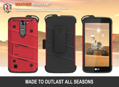 Made for [LG K7/ LG Tribute 5]-Bolt Series: Heavy Duty Cover w/ Kickstand Holster Tempered Glass Screen Protector & Lanyard [Red/ Black]