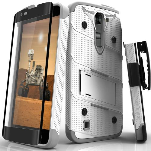 Made for [LG K7/ LG Tribute 5]-Bolt Series: Heavy Duty Cover w/ Kickstand Holster Tempered Glass Screen Protector & Lanyard [White/ Gray]