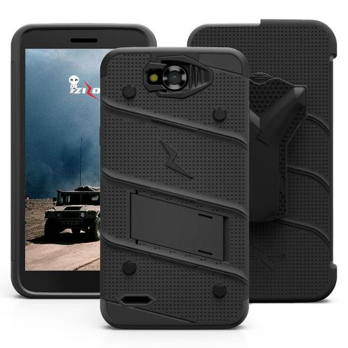 Made for [LG X Power 2/ X Charge]-Bolt Series: Heavy Duty Cover w/ Kickstand Holster Tempered Glass Screen Protector & Lanyard [Black]