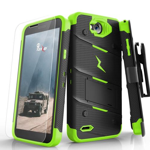 Made for [LG X Power 2/ X Charge]-Bolt Series: Heavy Duty Cover w/ Kickstand Holster Tempered Glass Screen Protector & Lanyard [Black/ Neon Green]