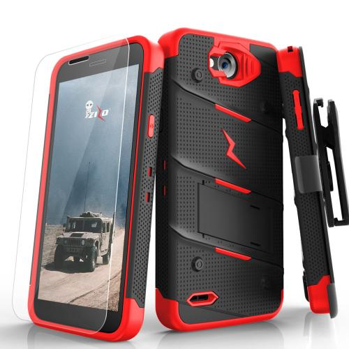 Made for [LG X Power 2/ X Charge]-Bolt Series: Heavy Duty Cover w/ Kickstand Holster Tempered Glass Screen Protector & Lanyard [Black/ Red]