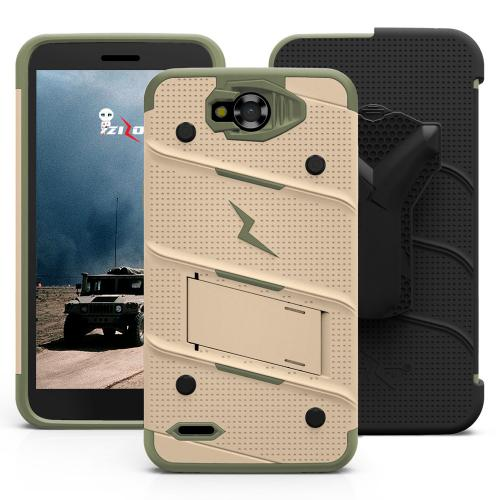 Made for [LG X Power 2/ X Charge]-Bolt Series: Heavy Duty Cover w/ Kickstand Holster Tempered Glass Screen Protector & Lanyard [Desert Tan/Camo Green]