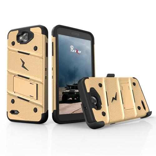 Made for [LG X Power 2/ X Charge]-Bolt Series: Heavy Duty Cover w/ Kickstand Holster Tempered Glass Screen Protector & Lanyard [Gold/ Black]