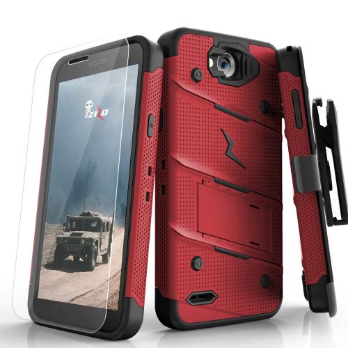 Made for [LG X Power 2/ X Charge]-Bolt Series: Heavy Duty Cover w/ Kickstand Holster Tempered Glass Screen Protector & Lanyard [Red/ Black]