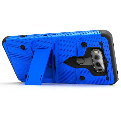 Made for [LG V20]-Bolt Series: Heavy Duty Cover w/ Kickstand Holster Tempered Glass Screen Protector & Lanyard [Blue/ Black]