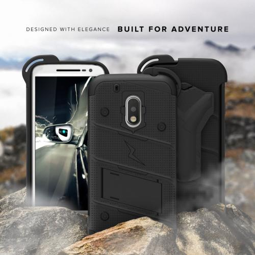 Made for [Motorola Moto G4 Play]-Bolt Series: Heavy Duty Cover w/ Kickstand Holster Tempered Glass Screen Protector & Lanyard [Black]