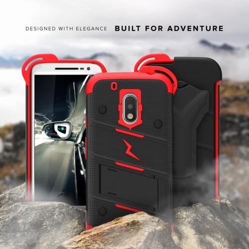 Made for [Motorola Moto G4 Play]-Bolt Series: Heavy Duty Cover w/ Kickstand Holster Tempered Glass Screen Protector & Lanyard [Red/ Black]