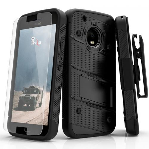 Made for [Motorola Moto G5 Plus]-Bolt Series: Heavy Duty Cover w/ Kickstand Holster Tempered Glass Screen Protector & Lanyard [Black]