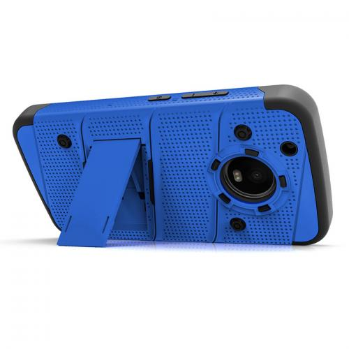 Made for [Motorola Moto G5 Plus]-Bolt Series: Heavy Duty Cover w/ Kickstand Holster Tempered Glass Screen Protector & Lanyard [Blue/ Black]