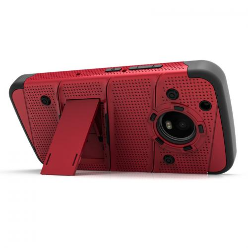 Made for [Motorola Moto G5 Plus]-Bolt Series: Heavy Duty Cover w/ Kickstand Holster Tempered Glass Screen Protector & Lanyard [Red/ Black]