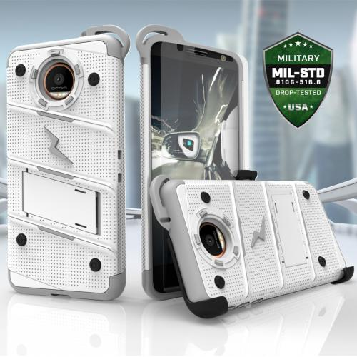 Made for [Motorola Moto Z]-Bolt Series: Heavy Duty Cover w/ Kickstand Holster Tempered Glass Screen Protector & Lanyard [White/ Gray]