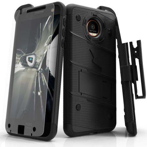 Made for [Motorola Moto Z Force]-Bolt Series: Heavy Duty Cover w/ Kickstand Holster Tempered Glass Screen Protector & Lanyard [Black]