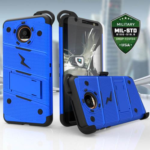Made for [Motorola Moto Z2 Force / Moto Z2 Play]-Bolt Series: Heavy Duty Cover w/ Kickstand Holster Tempered Glass Screen Protector & Lanyard [Blue/ Black]