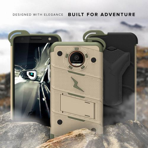 Made for [Motorola Moto Z2 Force / Moto Z2 Play]-Bolt Series: Heavy Duty Cover w/ Kickstand Holster Tempered Glass Screen Protector & Lanyard [Desert Tan/Camo Green]